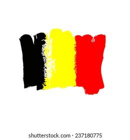 Belgium flag painted by brush hand paints. Art flag