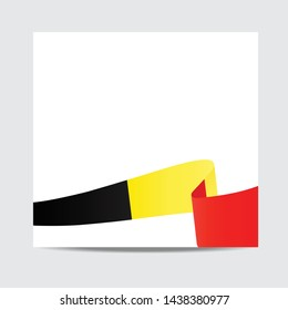 Belgium flag.  Belgium patriotic banner with space for text. Happy Belgian Independent Day. Template of greeting card,
