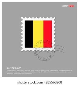 Belgium Flag Postage Stamp on white background. Vector illustration.