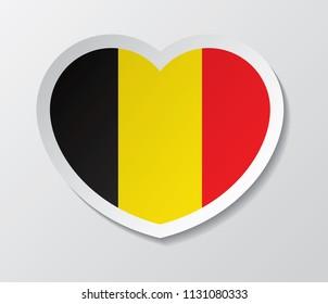 belgium flag vector love heart shape