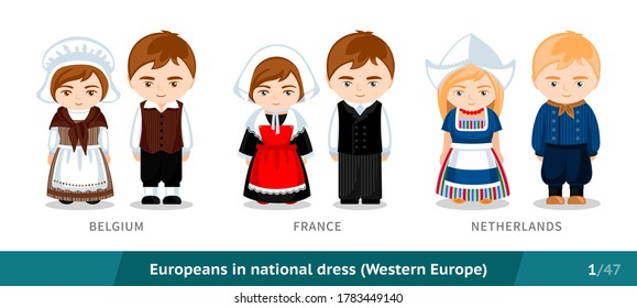 Belgium, France, Netherlands. Men and women in national dress. Set of european people wearing ethnic traditional costume. Isolated cartoon characters. Western Europe. Vector flat illustration.