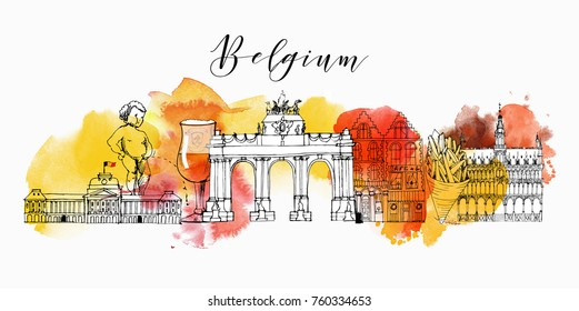 Belgium. Hand drawn vector background