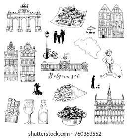 Belgium hand drawn vector set