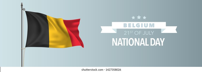 Belgium happy National day greeting card, banner vector illustration. Belgian holiday 21st of July design element with waving flag on flagpole