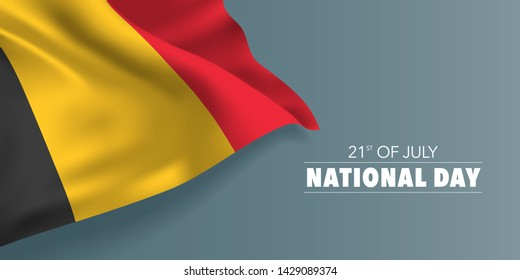 Belgium happy national day greeting card, banner with template text vector illustration. Belgian memorial holiday 21st of July design element with flag with stripes
