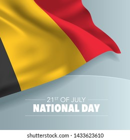 Belgium happy national day greeting card, banner, vector illustration. Belgian day 21st of July background with elements of flag, square format