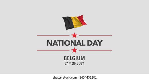 Belgium happy national day greeting card, banner, vector illustration. Belgian holiday 21st of July design element with waving flag as a symbol of independence