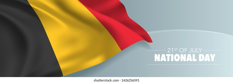 Belgium happy national day vector banner, greeting card. Belgian wavy flag in 21st of July patriotic holiday horizontal design