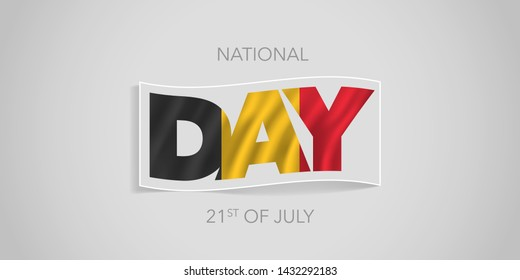 Belgium happy national day vector banner, greeting card. Belgian wavy flag in nonstandard design for 20th of July national holiday