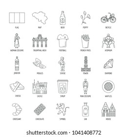 Belgium icons set. Outline illustration of 25 Belgium vector icons for web and advertising