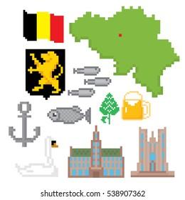 Belgium icons set. Pixel art. Old school computer graphic style. Games elements.