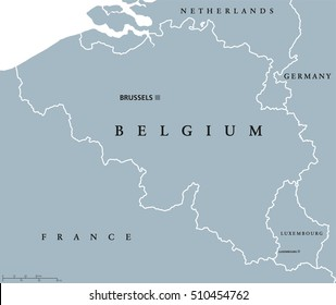 Belgium and Luxembourg political map with capitals Brussels and Luxembourg, with national borders and neighbor countries. Gray colored illustration with English labeling on white background.