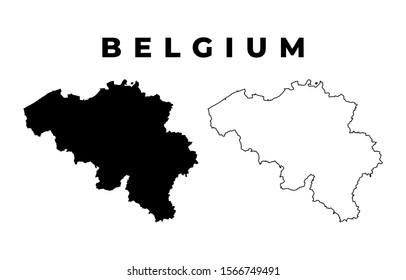 Belgium Map - Blank Map of Belgium Black Silhouette and Outline Isolated on White Background