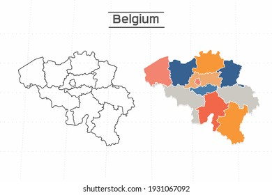 Belgium map city vector divided by colorful outline simplicity style. Have 2 versions, black thin line version and colorful version. Both map were on the white background.