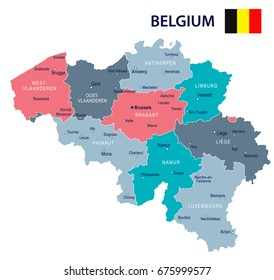 belgium map and flag vector illustration