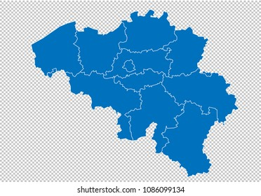 belgium map high detailed blue map with countiesregionsstates of belgium