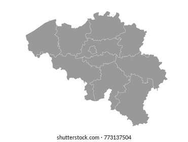belgium map. High detailed map of belgium on white background. Vector illustration eps 10.