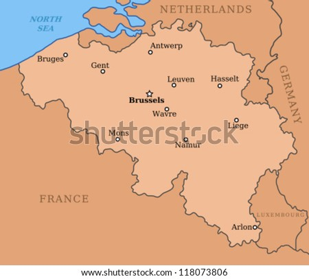 Bruges France Map.Belgium Map Major Cities Brussels Mons Stock Vector Royalty Free