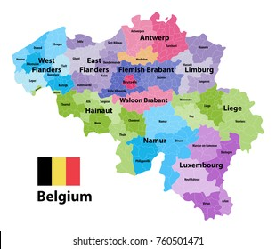 Belgium map showing  the provinces and administrative subdivisions (municipalities), colored by arrondissements. Flag of Belgium