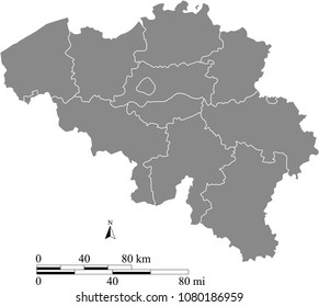 Belgium map vector outline with scales of miles and kilometers and borders of provinces in gray background. Belgium map with mileage and kilometer scales