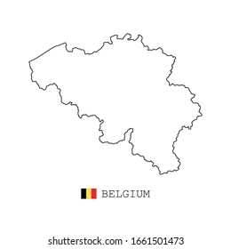 Belgium map vector. simple style thin line, linear. black on white and flag.