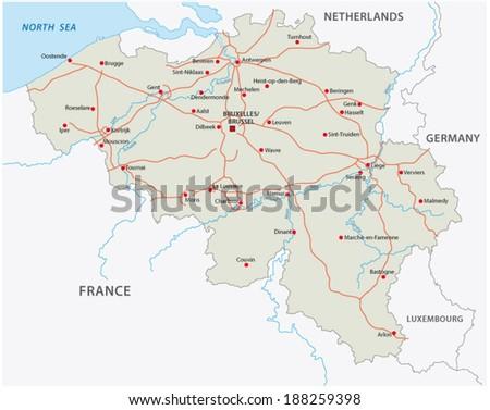 Motorway Map Of France.Belgium Motorway Map Stock Vector Royalty Free 188259398