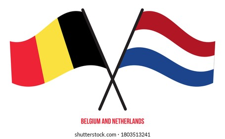 Belgium and Netherlands Flags Crossed And Waving Flat Style. Official Proportion. Correct Colors.