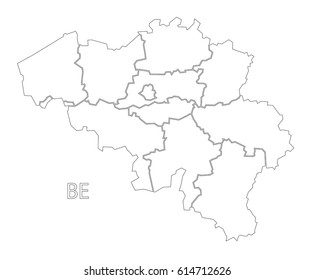 Belgium outline silhouette map illustration with regions