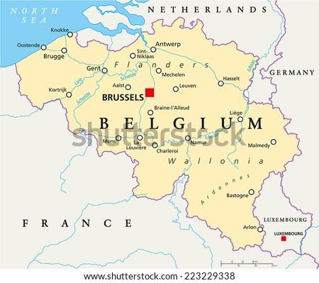 Belgium Political Map Capital Brussels National Stock Vector ...