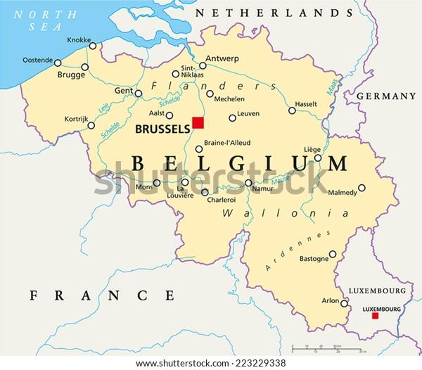 Belgia Poliittinen Kartta Paakaupunki Bryssel Kansalliset