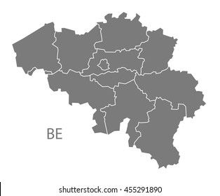 Belgium regions Map grey
