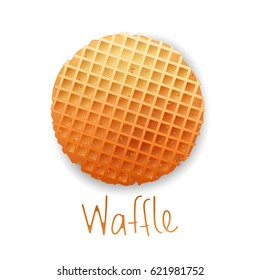 Belgium round waffle with text, gold colors, isolated on white background. Vector illustration. Cartoon icons, logo.