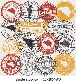 Belgium Set of Stamps. Travel Passport Stamp. Made In Product. Design Seals Old Style Insignia. Icon Clip Art Vector.