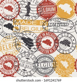 Belgium Set of Stamps. Travel Passport Stamps Pattern. Made In Product. Design Seals in Old Style Insignia Seamless. Icon Clip Art Vector Collection.