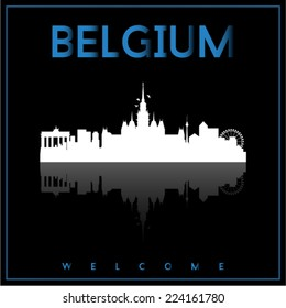 Belgium, skyline silhouette vector design on parliament blue and black background.
