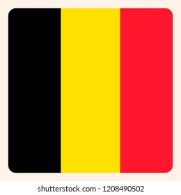 Belgium square flag button, social media communication sign, business icon.