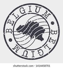 Belgium Stamp Postal. Map Silhouette Seal. Passport Round Design. Vector Icon. Design Retro Travel.