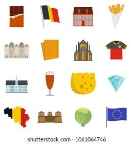 Belgium travel icons set. Flat illustration of 16 Belgium travel vector icons isolated on white background
