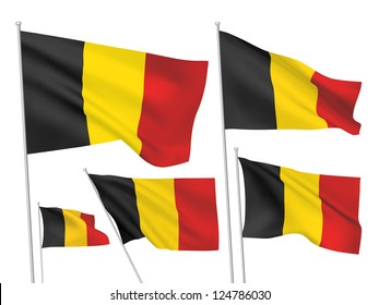 Belgium vector flags set. 5 wavy 3D cloth pennants fluttering on the wind. EPS 8 created using gradient meshes isolated on white background. Five fabric flagstaff design elements from world collection
