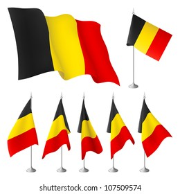Belgium vector flags. A set of flags created using gradient meshes