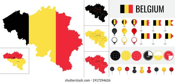 Belgium vector map with flag, globe and icons on white background