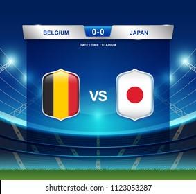 Belgium vs Japan scoreboard broadcast template for sport soccer 2018 and football league or world tournament championship vector illustration