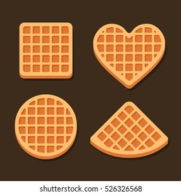 Belgium Waffles Icon Set on Dark Background. Vector