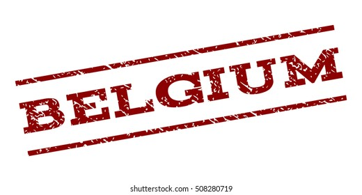 Belgium watermark stamp. Text tag between parallel lines with grunge design style. Rubber seal stamp with scratched texture. Vector dark red color ink imprint on a white background.