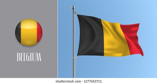 Belgium waving flag on flagpole and round icon vector illustration. Realistic 3d mockup of red yellow Belgian flag and circle button