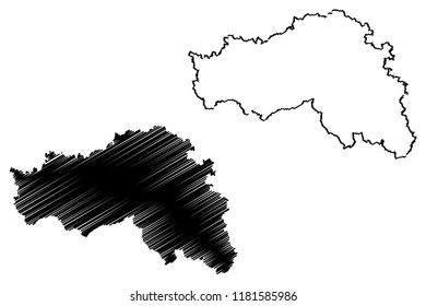 Belgorod Oblast (Russia, Subjects of the Russian Federation, Oblasts of Russia) map vector illustration, scribble sketch Belgorod Oblast map