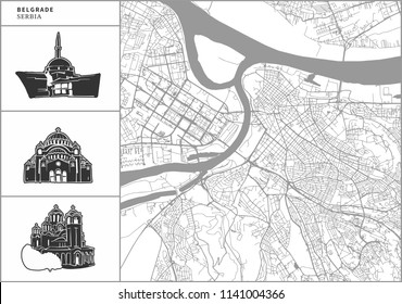 Belgrade city map with hand-drawn architecture icons. All drawigns, map and background separated for easy color change. Easy repositioning in vector version.