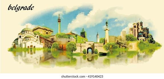 BELGRADE city water color panoramic vector illustration