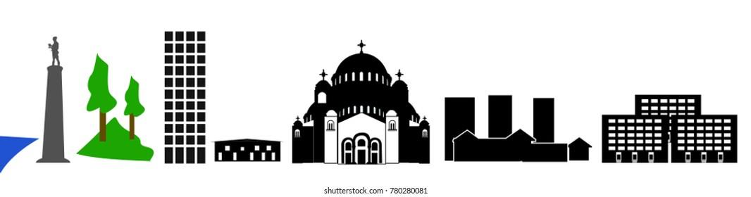 Belgrade landmarks illustration