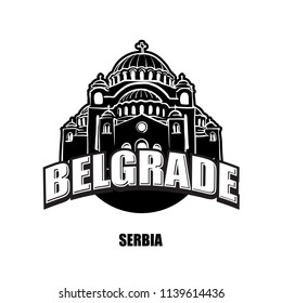 Belgrade, Serbia, black and white logo for high quality prints. Hand drawn vector sketch.